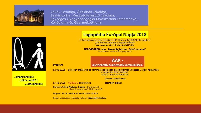 Logopédia Európai Napja - 2018, rendezvény meghívó