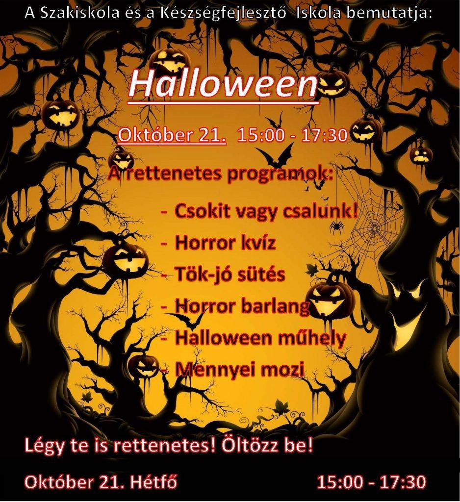 Halloween buli meghívó plakát, 2019 október 21.
