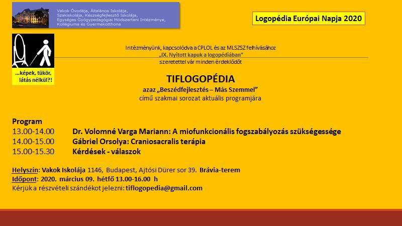 Tiflogopédia rendezvény, 2020 március 9.