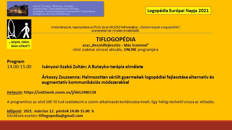 Tiflogopédia rendezvény, 2021 március 12.